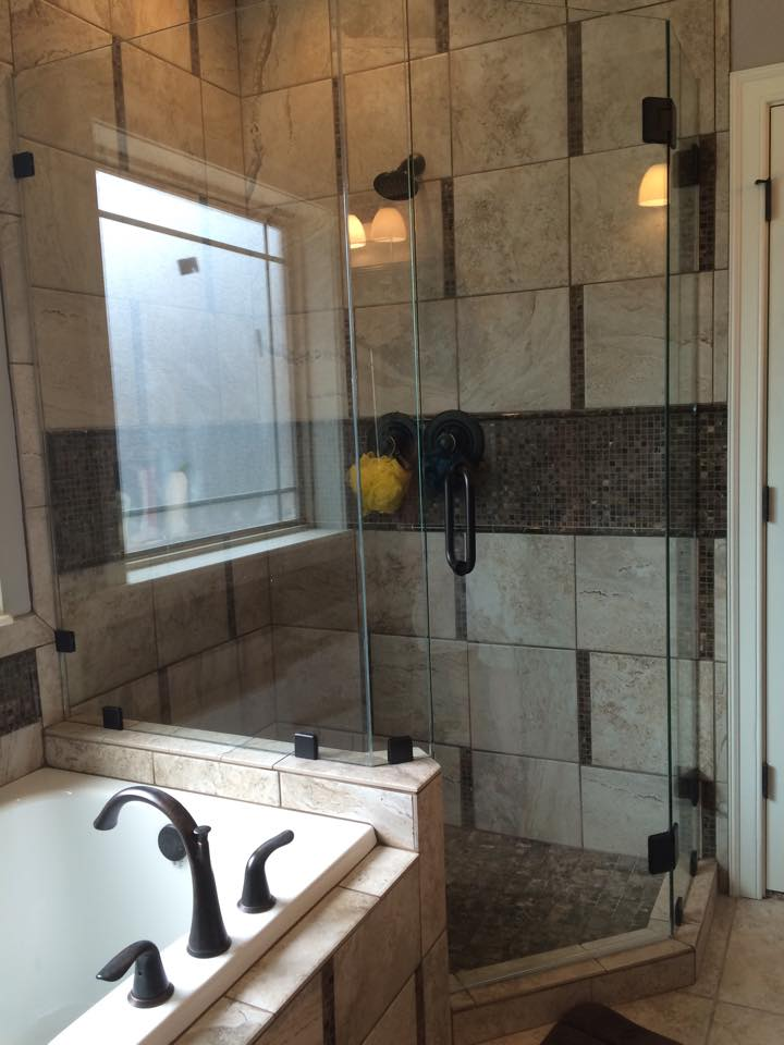 custom shower door River Valley Tinting and Glass